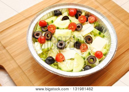 Fresh Toss Salad in a Foil Container