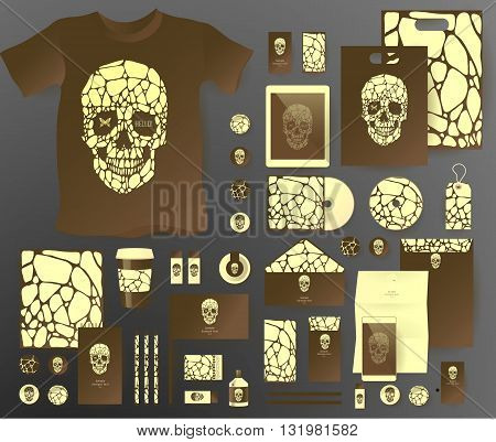 Abstract  business set with skull and bubble . Corporate identity templates, notebook, card, flag, T-shirt, disk, package,  label, envelope, pen, Tablet PC