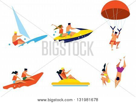 Beach activities. Summer water fun. Happy people having fun. Sea vacation. Happy holiday. Outdoor leisure.