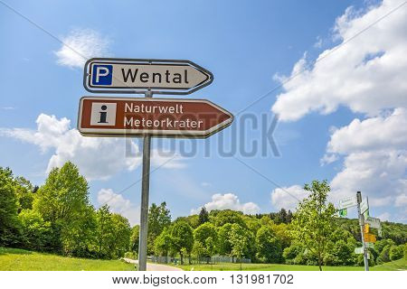 Steinheim Wental Germany - May 26 2016: Wental valley signpost showing way to information center