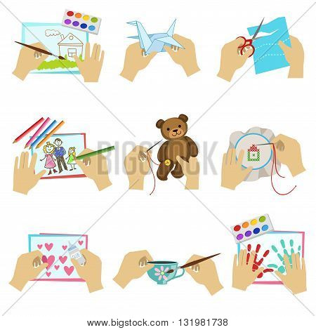 Hands Doing Different Crafts Set Of Bright Color Isolated Vector Drawings In Simple Cartoon Design On White Background