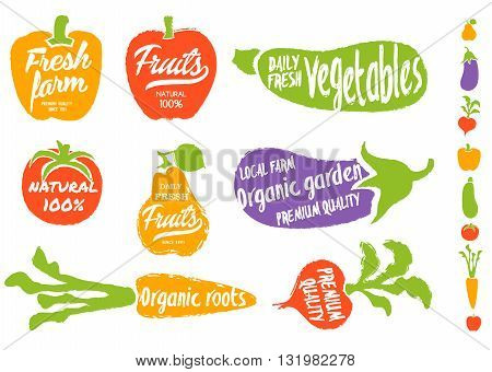 Healthy food background. Isolated vegetable and fruit vector illustration. Vegetarian menu elements. Natural food concept. Local farm concept. Organic garden. Natural product.
