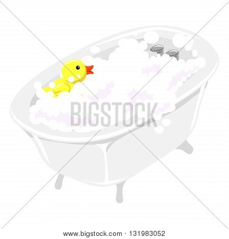 Vector Illustration of Bath Tub filled with Bubbles and Rubber Duck