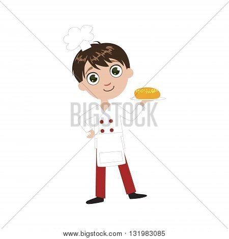 Boy Future Baker Simple Design Illustration In Cute Fun Cartoon Style Isolated On White Background