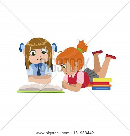 Teo Girls Reading One Book Colorful Simple Design Vector Drawing Isolated On White Background