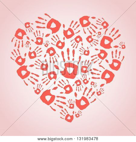 Heart with hand print icons. Vector illustration