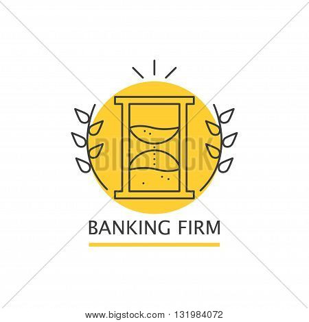 Vector colorful banking firm logo isolated on white background. Flat business insignia silhouette. Art design logo for banking firm, watch store, repair shop, spa, card, banner, leaflet, icon, symbol.
