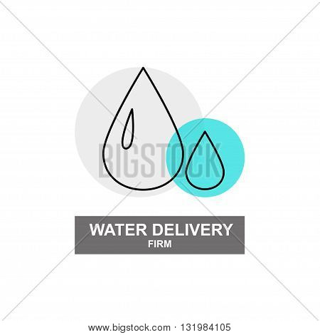 Vector water delivery firm logo isolated on white background. Artistic simple design concept. Flat logo for water delivery firm, plumbing firm, plumbing shop, delivery company group, card, banner.