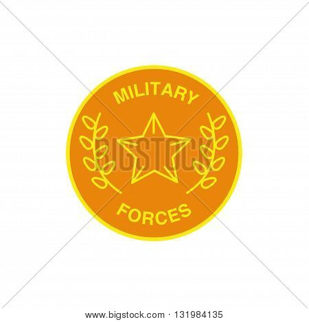 Vector military forces logo isolated on white background. Artistic simple design concept. Flat classic logo for military forces, military organization, security company group.
