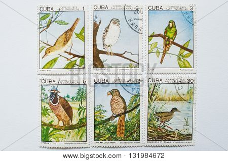 Uzhgorod, Ukraine - Circa May, 2016: Collection Of Postage Stamps Printed In Cuba Correos Shows Bird