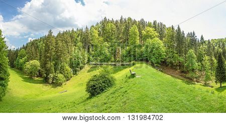 Wental valley reservoir dam panorama - forest / trees in the background - Swabian Alps (Schwaebische Alb)