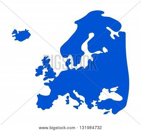 Blue, abstract Europe silhouette - vector illustration.