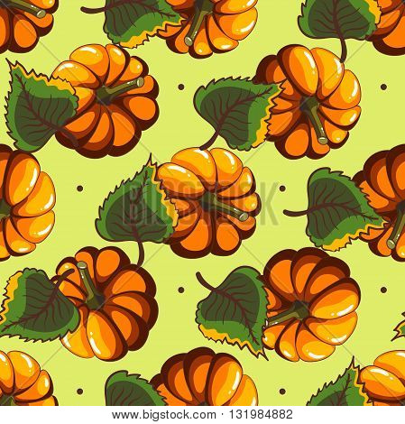 Seamless pattern made from hand drawn pumpkins and leaves. Vector illustration.