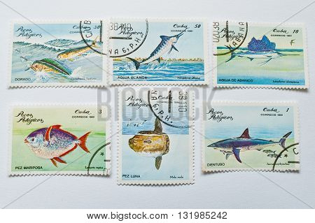 Uzhgorod, Ukraine - Circa May, 2016: Collection Of Postage Stamps Printed In Cuba, Shows Different T