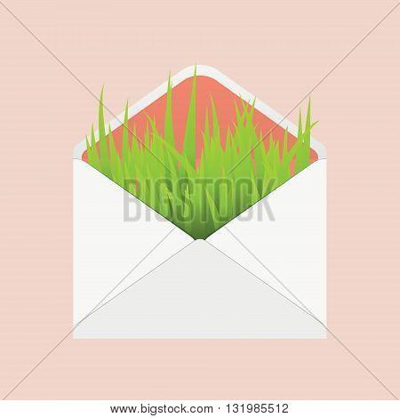 ecology envelope icon. vector illustration of grass in white envelope