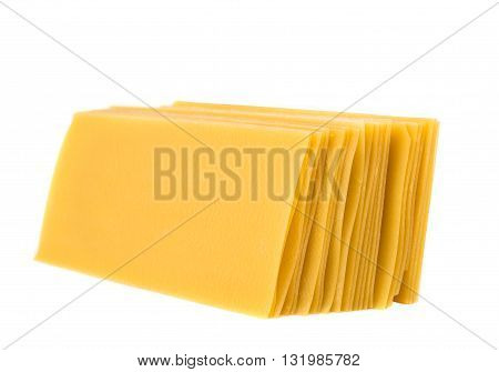 Uncooked lasagna pasta isolated on white background
