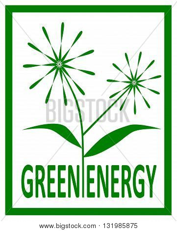 reen energy logo with flowers - vector illustration.