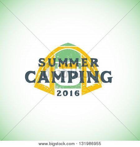 Color Summer Camping Sign Template.