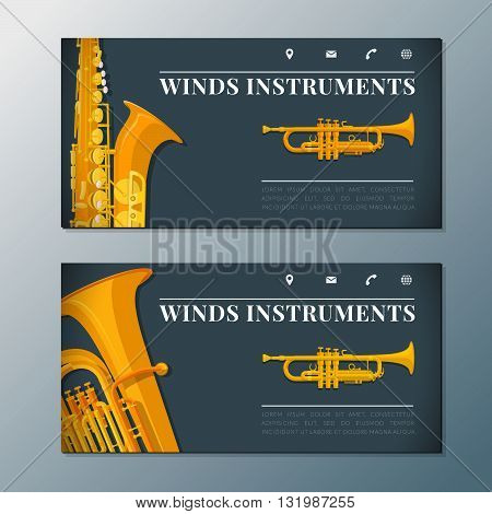 Wind Music Instruments Banners Templates.