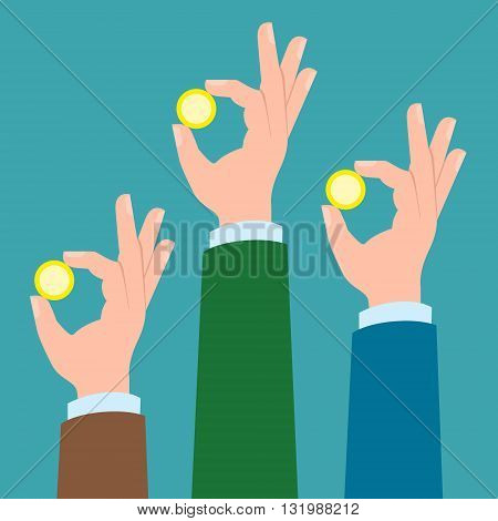 Three hands with golden coins. Concept of charity, investment. Market and bank business. Hands holding coins.