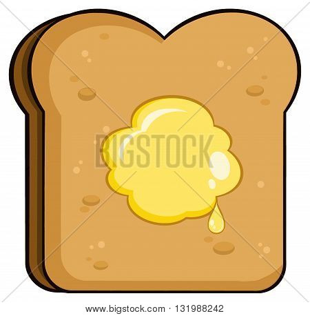 Cartoon Toast Bread Slice With Butter. Illustration Isolated On White Background