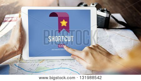 Shortcut Internet Guide Direction Process Concept
