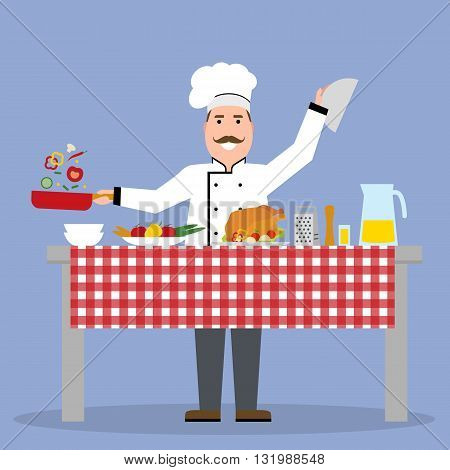Male chef cooking on blue background. Restaurant worker frying vegetables and holding a meal. Chef uniform and hat. Table and cafe equipment.