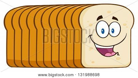 Smiling Bread Loaf Cartoon Mascot Character. Illustration Isolated On White Background