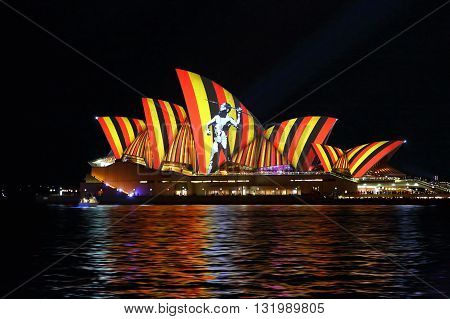 Aboriginal Hunter On Sydney Opera House Vivid Sydney