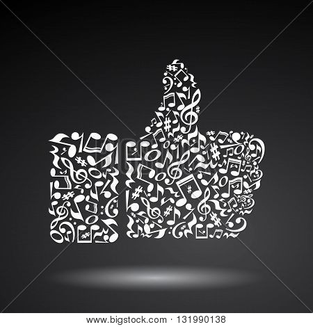 Thumb up gesture made of music notes on black background. Black notes pattern. Black and white design. Hand shape. Poster and decoration idea.