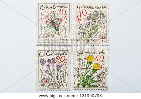 Uzhgorod, Ukraine - Circa May, 2016: Collection Of Post Stamps Printed In Czechoslovakia, Shows Diff