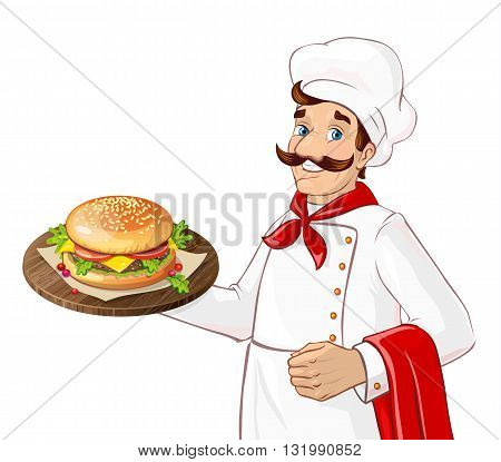 Chef holding burger on a tray. Isolated character on white background. Man serving in a restaurant, cafe.