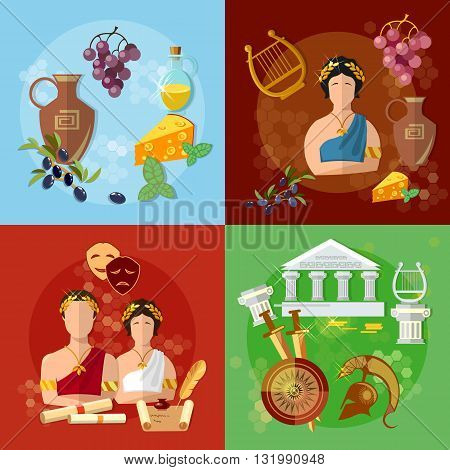Ancient Greece and Rome tradition history culture vector set collection