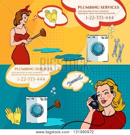 Professional plumber banners woman calling plumber pop art style vector illustration