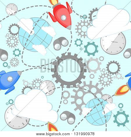 Industrial pattern on blue background. Wrench, clock, cog, gear, clouds, planet and rocket. Abstract concept of teamwork, successful business and communication.