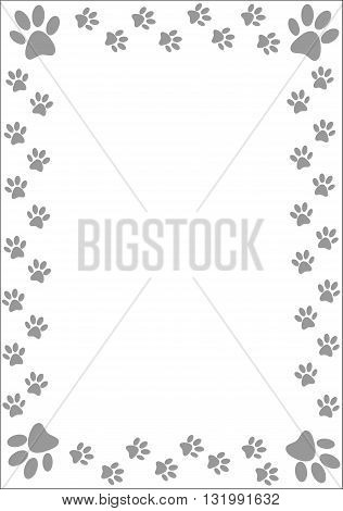 Colourful paw prints border - vector illustration.