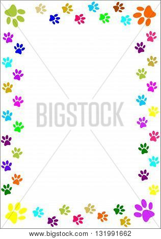 Colourful paw prints border - vector illustration.