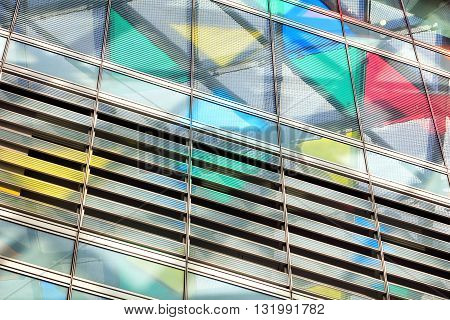Abstract close-up view of modern glazing with colorful triangles 3d illustration