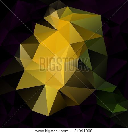 vector abstract irregular polygon background with a triangular pattern in dark purple black yellow and green colors