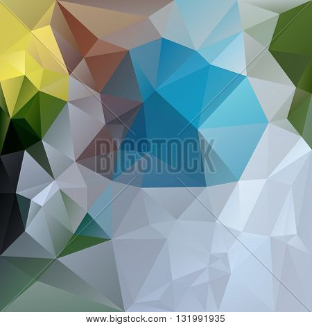 vector abstract irregular polygon background with a triangular pattern in blue green yellow gray and brown colors