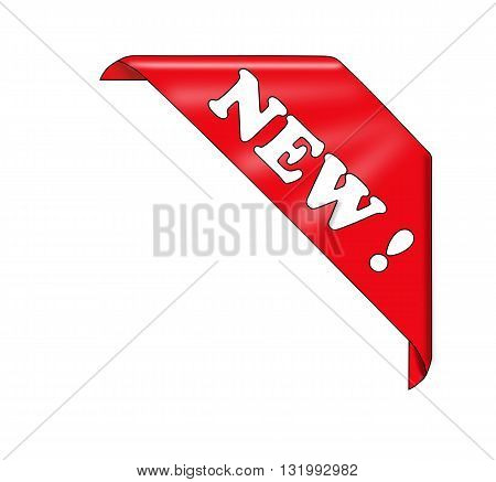 Red new corner ribbon - vector illustration.