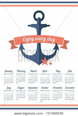Calendar for 2016 with ribbon and anchor. Enjoy every day