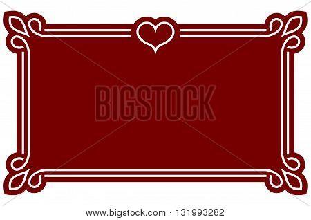 Red border frame deco plaque. Vector art simple line corner