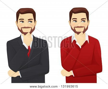 Set of thoughtful business man in different style clothes isolated