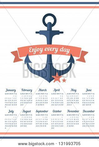 Calendar for 2016 with ribbon and anchor. Enjoy every day. Week starts on Sunday