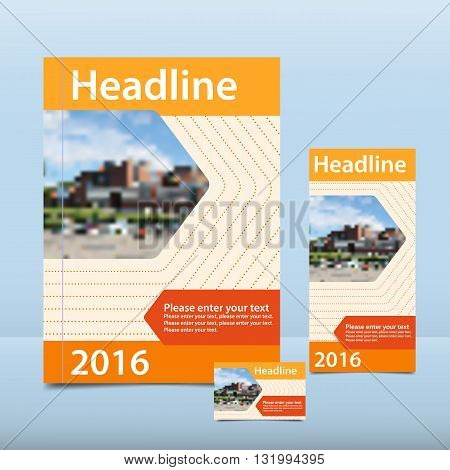 Orange annual report to the pattern brochure flyer and business card design template vector flyer cover presentation abstract background flat A4 layout 1/3 A4 card - Stock Vector