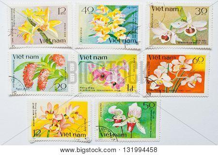 Uzhgorod, Ukraine - Circa May, 2016: Collection Of Postage Stamps Printed In Vietnam, Shows Differen