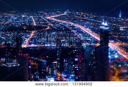 Abstract Blurred Bokeh Lights At Night: City Aerial View