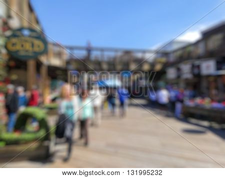 Abstract Blurry background : city and people urban scene.