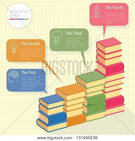 Modern books infographic chart vector mock up.
